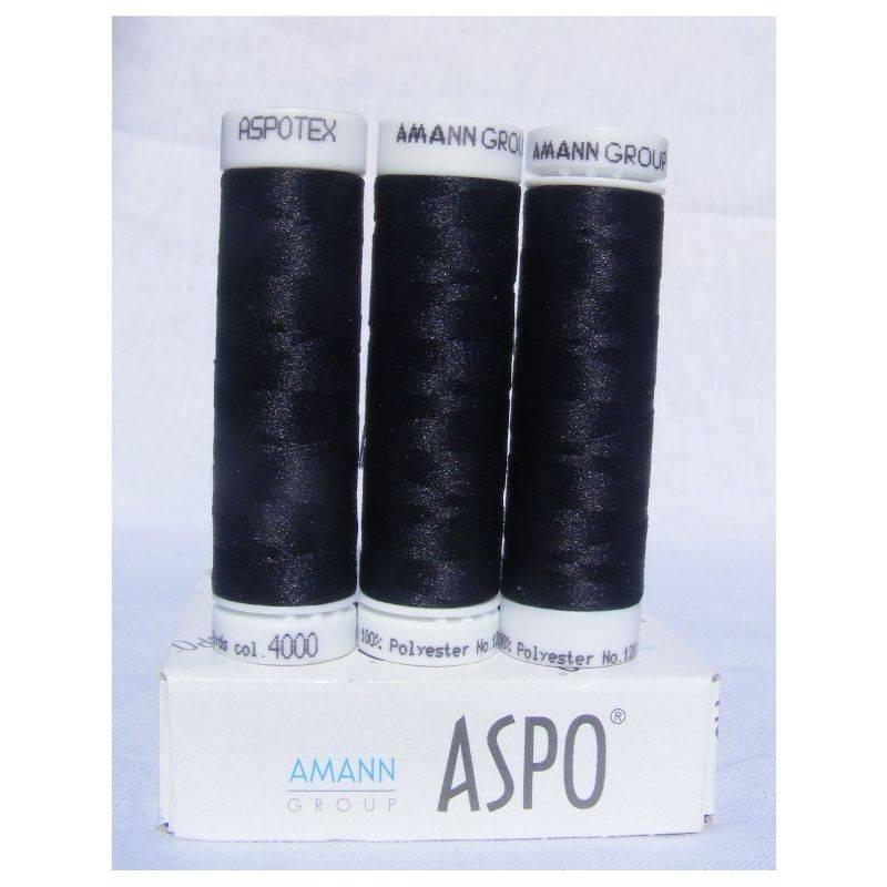 Butika.hu hobby webáruház - Amann Aspotex 120 poliészter varrócérna, 100m, fekete, 4000