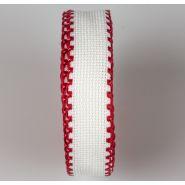 Butika.hu hobby webáruház - Zweigart Aida hímezhető kongré szalag, 20mm, fehér, piros szélekkel, 7002/19