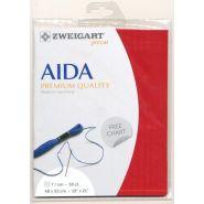 Butika.hu hobby webáruház - Zweigart Aida precut hímző vászon, ajándék ABC mintával, piros, 3793/954