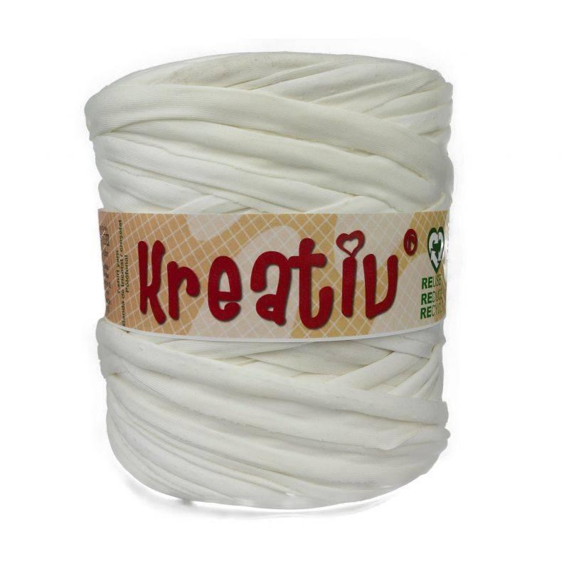 Butika.hu hobby webáruház - Kreatív pamut pólófonal, nagy gombolyag, törtfehér, Kreativ-400