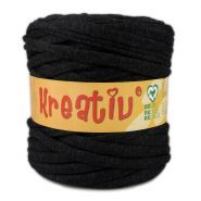Butika.hu hobby webáruház - Kreatív pamut pólófonal, nagy gombolyag, fekete spriccolt, Kreativ-550