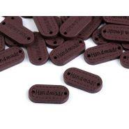 Butika.hu hobby webáruház - Handmade címke, fa, felvarrható, 11x23mm, 750045, 10db, dió