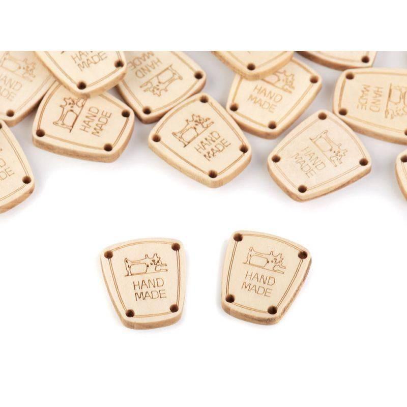 Butika.hu hobby webáruház - Handmade címke, fa, felvarrható, 17x20mm, 120482, 10db, natur