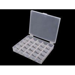 Butika.hu hobby webáruház - Zárható varrógép orsó tároló doboz, tejfehér, 25 orsó, 750524