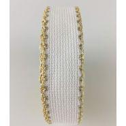 Butika.hu hobby webáruház - Zweigart Aida hímezhető kongré szalag, 20mm, fehér, arany szélekkel, 7002/181