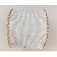 Butika.hu hobby webáruház - Zweigart Aida hímezhető kongré szalag, 75mm, fehér, arany szélekkel, 7008/181