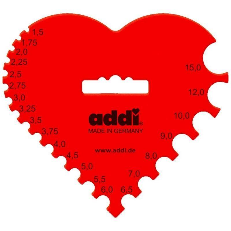 Butika.hu hobby webáruház - Addi, műanyag szív, horgolótű mérce, AD409-7