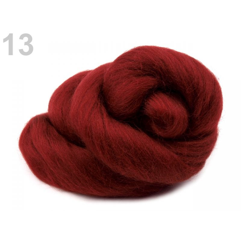 Butika.hu hobby webáruház - Fésült újzélandi merinó gyapjú nemezeléshez, 20g - sötétpiros, 13