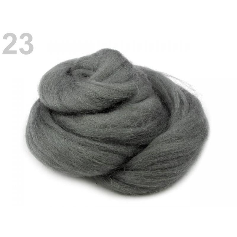Butika.hu hobby webáruház - Fésült újzélandi merinó gyapjú nemezeléshez, 20g - szürke, 23