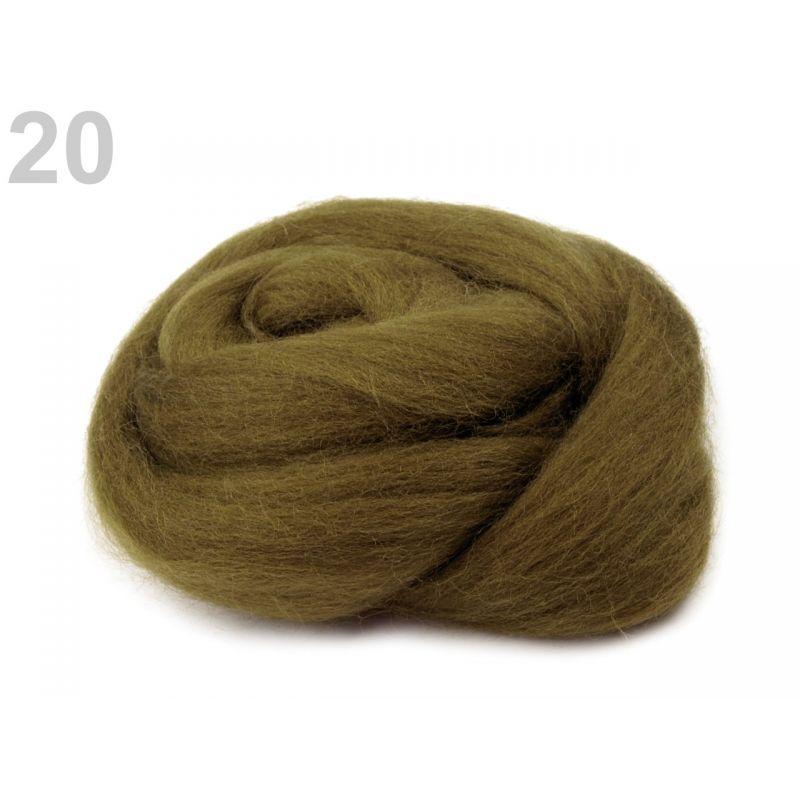 Butika.hu hobby webáruház - Fésült újzélandi merinó gyapjú nemezeléshez, 20g - khaki, 20