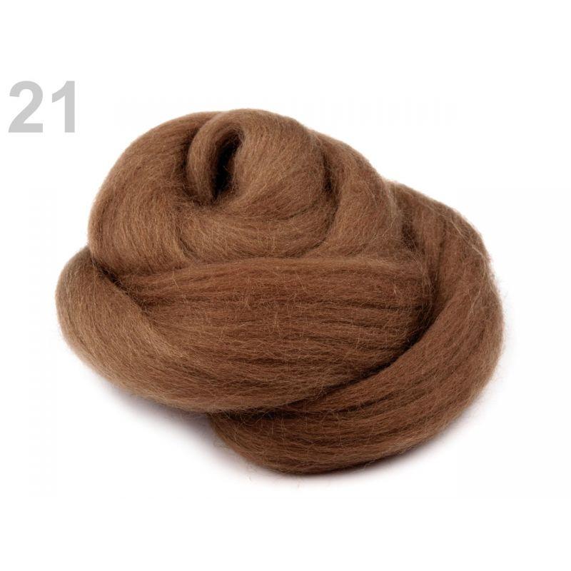 Butika.hu hobby webáruház - Fésült újzélandi merinó gyapjú nemezeléshez, 20g - világos barna, 21