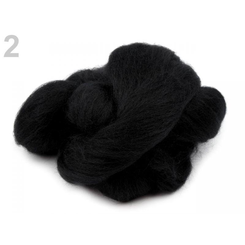 Butika.hu hobby webáruház - Fésült újzélandi merinó gyapjú nemezeléshez, 20g - fekete, 2