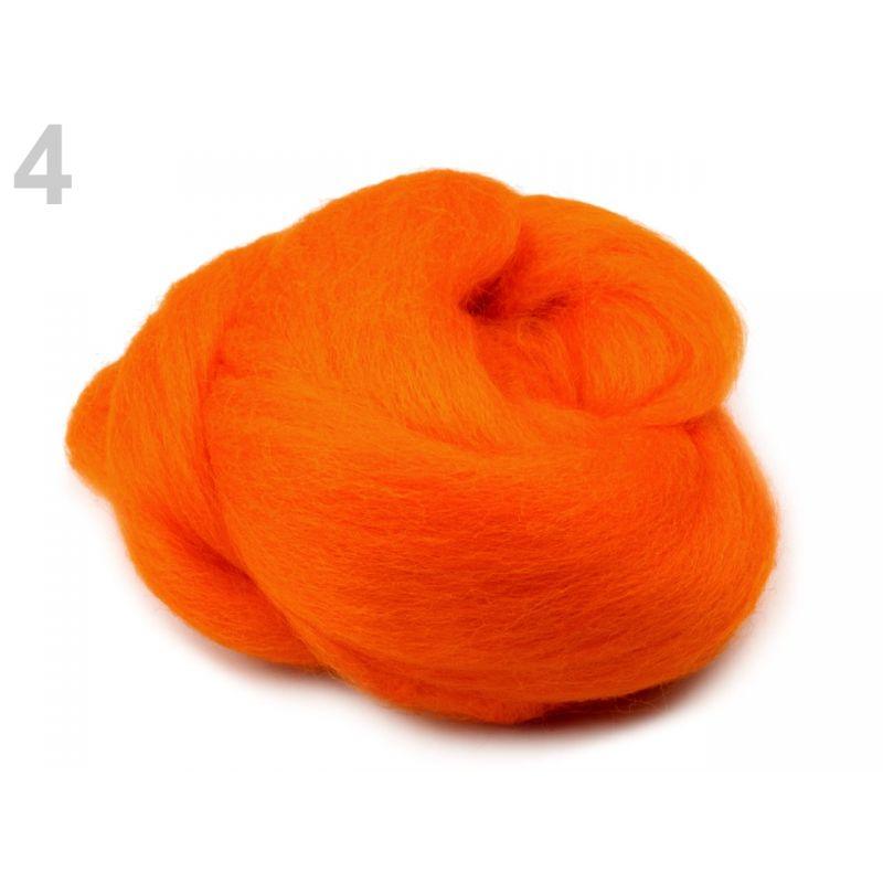 Butika.hu hobby webáruház - Fésült újzélandi merinó gyapjú nemezeléshez, 20g - narancs, 4