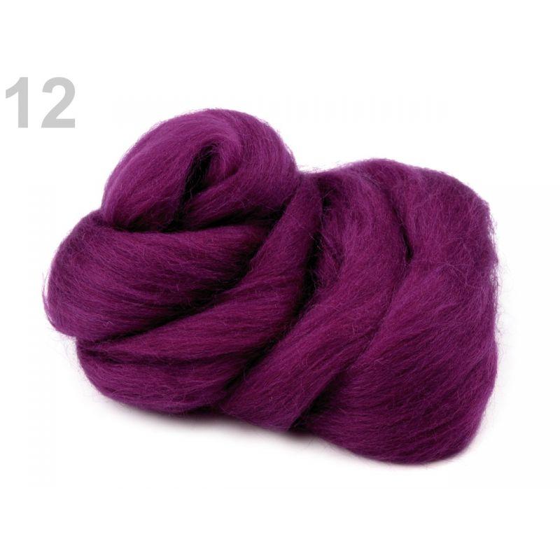 Butika.hu hobby webáruház - Fésült újzélandi merinó gyapjú nemezeléshez, 20g - szilvás, 12