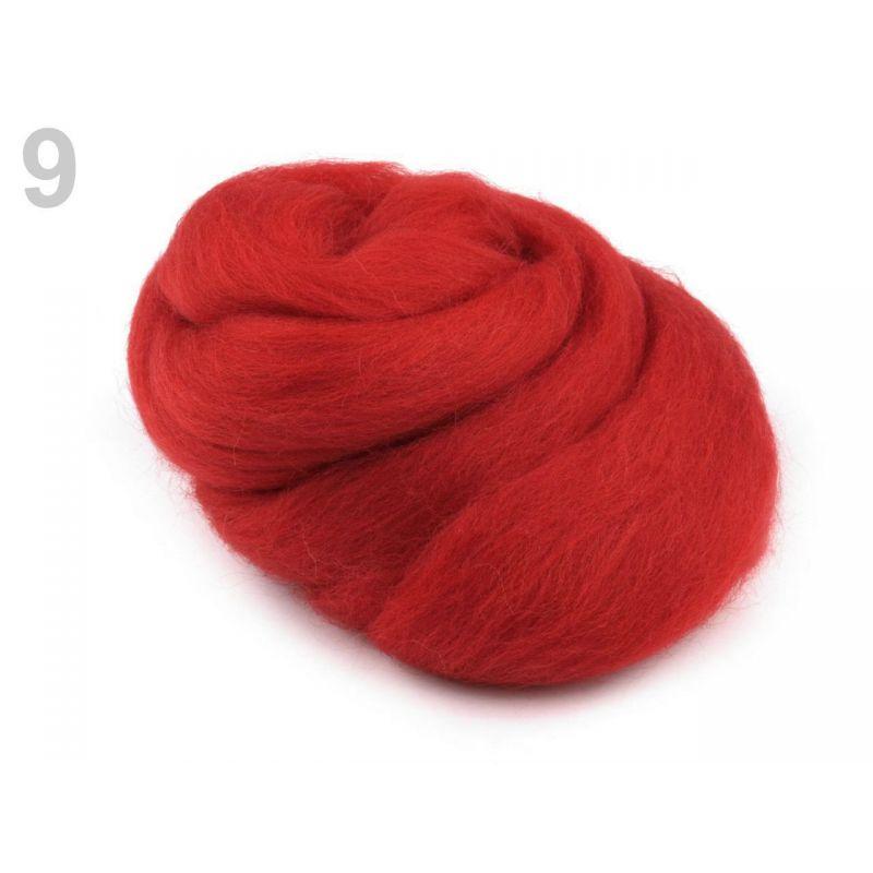 Butika.hu hobby webáruház - Fésült újzélandi merinó gyapjú nemezeléshez, 20g - eper piros, 9