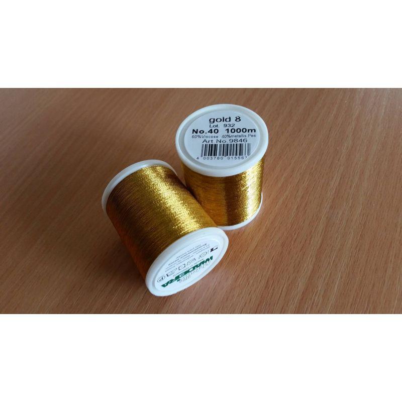 Butika.hu hobby webáruház - Metallic Madeira metál hímzőcérna, No.40, 1000m - Gold 8