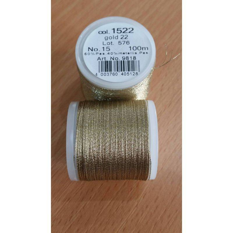 Butika.hu hobby webáruház - Metallic Madeira fémszálas hímzőcérna, No.15, 100m - Gold 1522